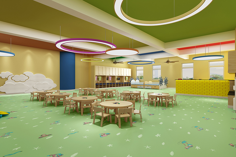 Kindergarten skid resistance pure color floor